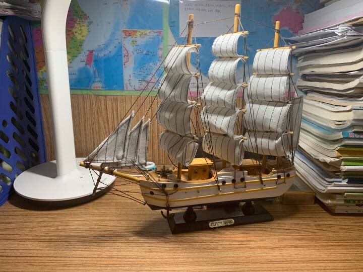 沃居 一帆风顺帆船摆件模型实木质木制手工地中海船摆饰客厅卧室书房装饰品仿真木船 大号帆船02-33CM*30CM 晒单图
