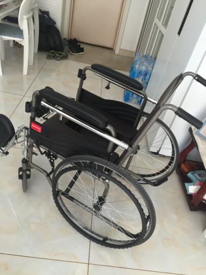 鱼跃(YUWELL)轮椅可折叠半躺型老人带坐便器椅餐桌板手动轮椅车全钢管加固H059B 晒单图
