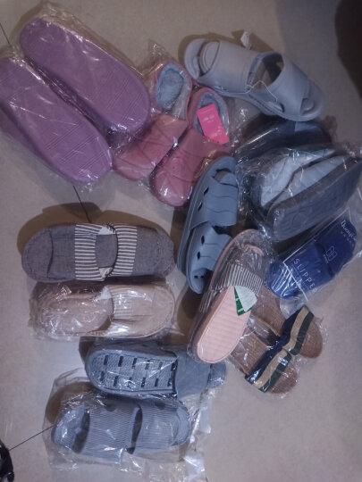 棉拖鞋男女冬季情侣包跟棉拖冬天居家地板加绒防滑保暖条纹拖鞋 蓝色(女款) 40/41(女士39-40脚) 晒单图