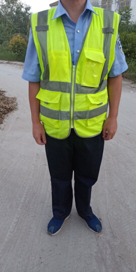 9F 反光背心马甲反光衣印字环卫施工作交通骑行安全警示衣 反光背心-荧光绿 晒单图