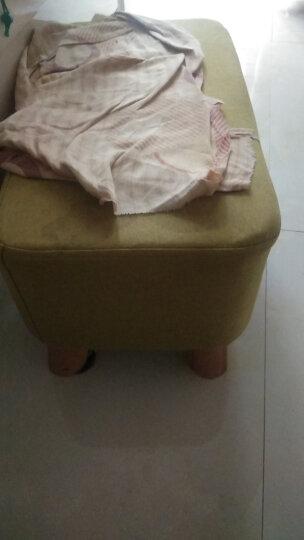 家逸 换鞋凳时尚方凳 实木矮凳 创意穿鞋凳 沙发凳 布艺凳方墩 绿色 晒单图