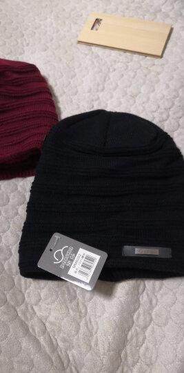 黛莎帽子女秋冬加绒保暖毛线帽包头帽 韩版潮时尚套头帽子户外冬帽护耳针织帽 JDMM6052 黑色 晒单图