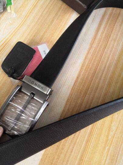 红谷男士皮带休闲牛皮针扣可裁剪男士腰带礼盒装 H23204372深咖啡亚光头 晒单图