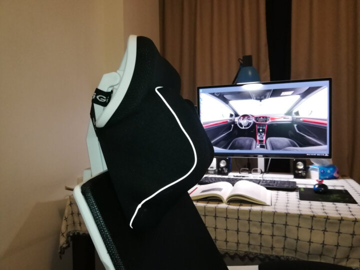 吉吉(GiGi)汽车头枕 护颈枕 头靠枕 NE-002弹力乳胶棉 舒适型减压头枕 银灰 晒单图
