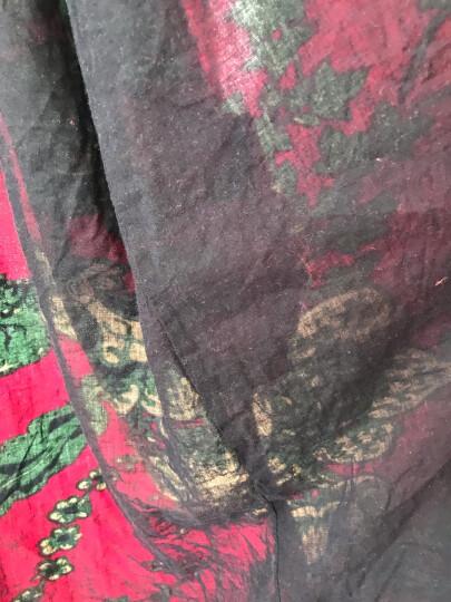 乱在江南民族风棉麻印花风衣女中长款2020春秋新品立领盘扣复古外套 深玫红色 均码 晒单图