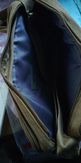 满江红帆布包单肩包男休闲大容量男士挎包运动简约横款斜挎包复古邮差多功能背包ipad包 升级版黑色中号 晒单图