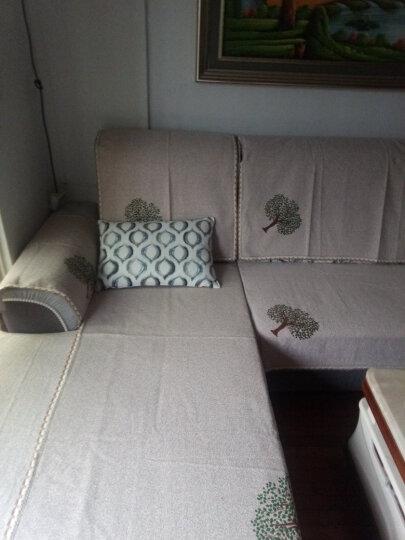 【4件7折】四季亚麻印花沙发垫坐垫布艺棉麻沙发巾罩套装简约现代飘窗垫子全盖 包边招财猫蓝色 70*150cm+70*180cm 晒单图