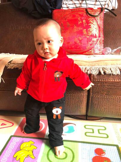 盈泰儿童套装春秋男女童套装0-3岁宝宝衣服外出服 小格子衬衣假三件套灰色 S(73-80cm  4月-1岁) 晒单图