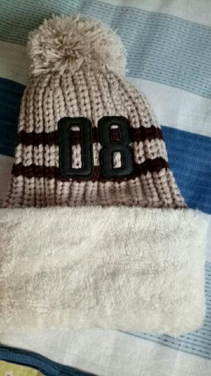 迈帽姿韩版加绒加厚毛线帽秋冬季女士套头针织帽骑车帽子防寒保暖护耳帽 米色 M(56-58cm) 晒单图
