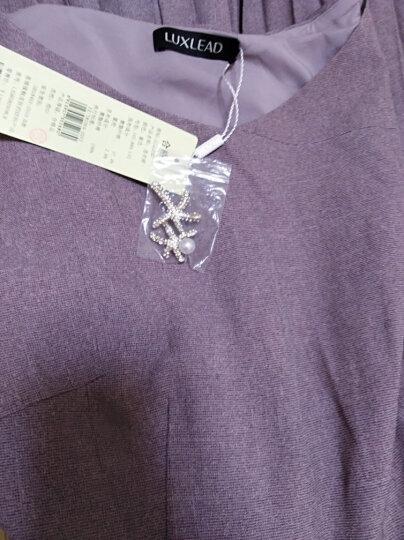 洛诗琳 新款女装甜美减龄胸针装饰百褶短袖连衣裙子 紫色 L 晒单图