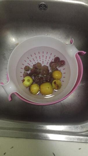 奥美优 沥水篮双层沥水架漏筛旋转圆形洗菜盆 厨房洗菜蓝水果篮 蓝色 AMY1122 晒单图