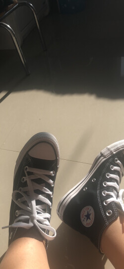 CONVERSE匡威官方 All Star 男女鞋经典款高帮休闲情侣帆布鞋 101010 黑色/101010 36/3.5 晒单图