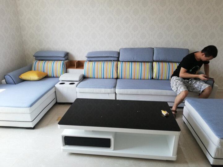 中派沙发客厅现代布艺简约沙发组合 枣红色 (加厚)三人位+贵妃 晒单图
