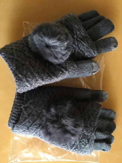 卡兰薇触摸屏手套韩版学生可爱全指骑车针织手套两种戴法 深灰色 晒单图