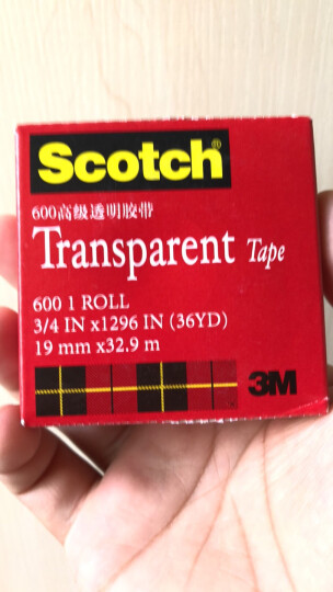3M思高Scotch透明胶带测试胶带500 600无痕胶带学生文具家居用品 600 19mm*32.9m 晒单图