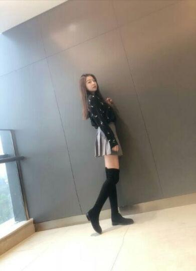 韩版2018新款过膝长靴女秋冬学生内增高女鞋中跟平底靴子长筒靴高筒女靴弹力靴过膝靴潮 3.5cm(加绒) 37 晒单图