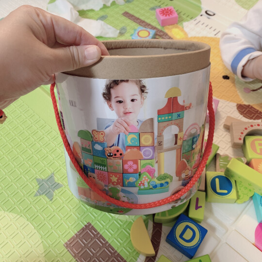 Hape积木玩具80粒宝宝花园木质拼装塑封桶装积木儿童节0-1-3岁男女孩婴儿生日六一礼物早教益智 晒单图