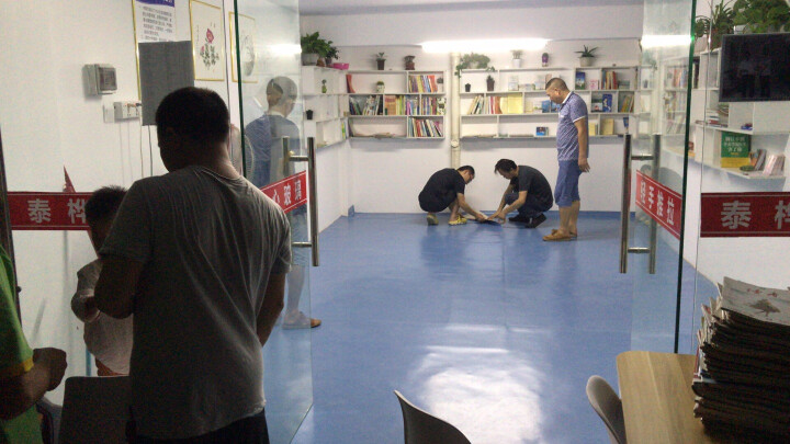2.0mm医院学校pvc地板塑胶地板环保净味地板革加厚耐磨防水地胶纸商用地板 2.0商用蓝色地毯纹 晒单图