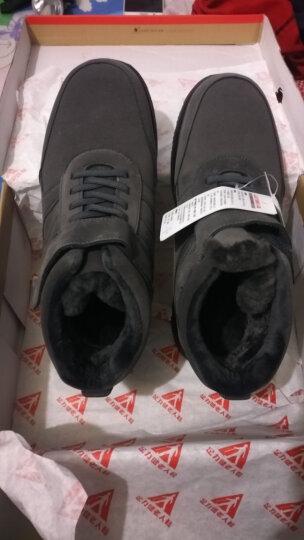 足力健老人棉鞋冬季保暖男鞋羊毛靴加绒爸爸中老年健步高帮鞋 灰色(男款) 43 晒单图