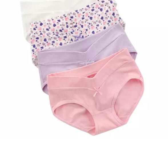 红豆女士内裤高腰提臀女士美体透气收腹塑身三角内裤 三条一组 优雅紫色 165/85 晒单图