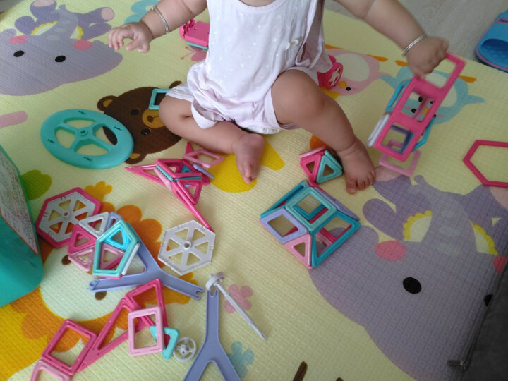 铭塔88件套磁力片积木 儿童玩具男女孩磁性棒百变提拉建构片吸铁石 哒哒搭收纳盒装 晒单图