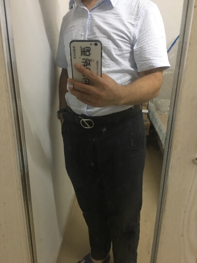 Z ZEGNA 杰尼亚 男士黑色皮质压纹枪色板扣双面皮带腰带 BMBUG1 958A NER 105 晒单图