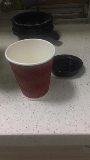 利得一次性加厚咖啡杯12盎司340ml  双层瓦楞纸杯奶茶杯16套 带盖 晒单图