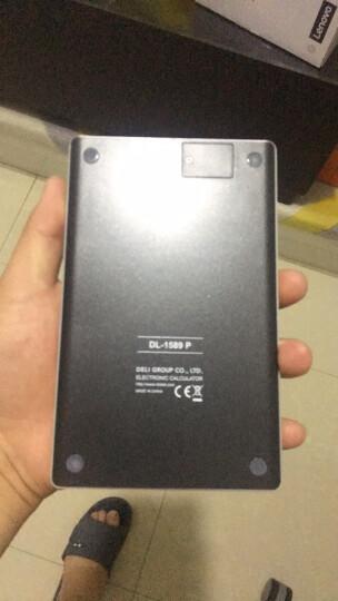 得力(deli)双电源时尚平板式计算器 12位无缝按键桌面计算机 办公用品 黑色1589P 晒单图