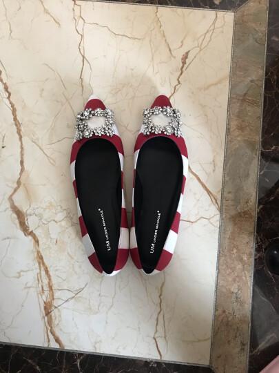清仓 忐忑女鞋尖头方钻条纹缎面百搭平底单鞋 红白条纹 38 晒单图