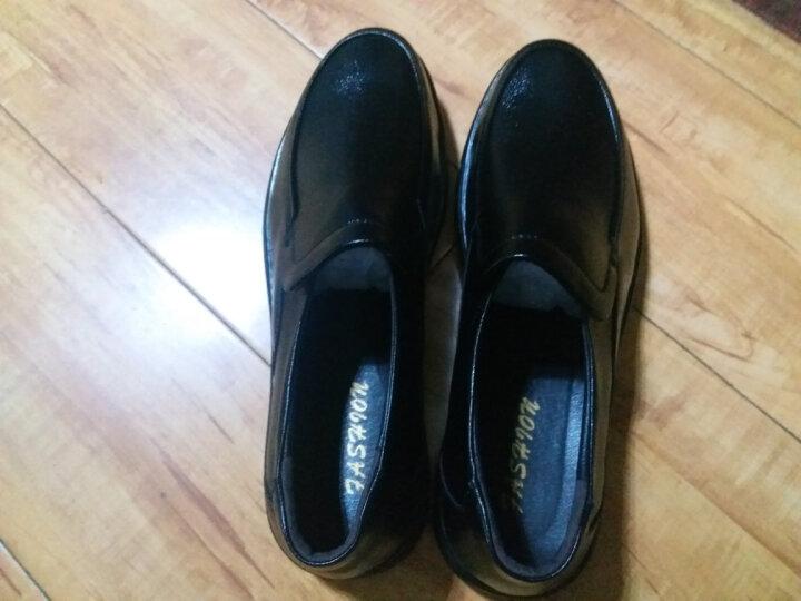 瑞蓓妮皮鞋商务休闲鞋夏季新款镂空皮鞋男中老年爸爸鞋大码老人凉鞋 1886黑色皮鞋 42 晒单图