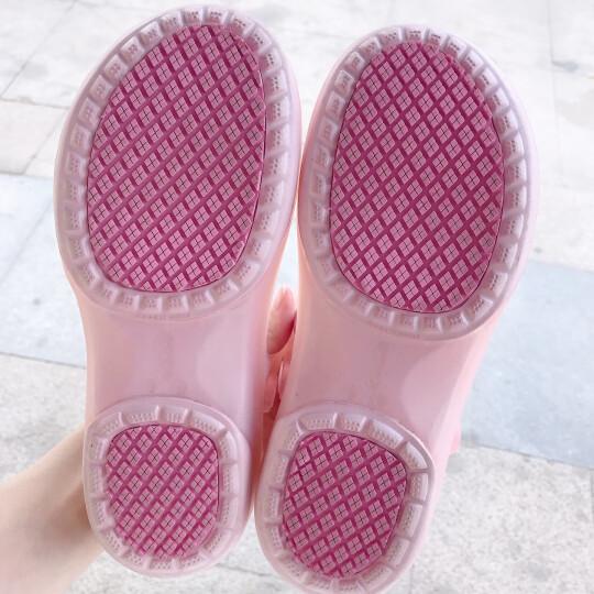 洞洞鞋女果冻鞋平底孕妇凉鞋防滑夏季包头玛丽珍沙滩鞋女学生变色护士拖鞋松糕雨 新水绿 39码 晒单图