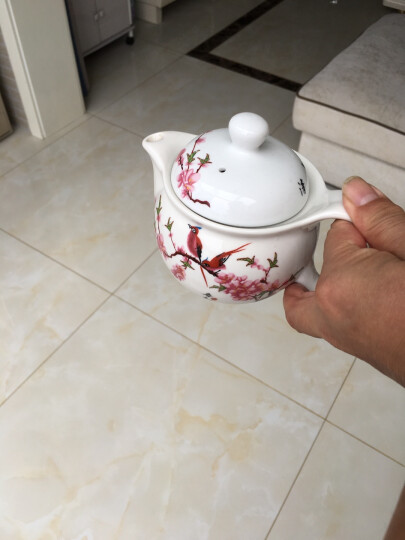 万庆兴 功夫茶具套装复古中式整套青花陶瓷茶壶茶杯茶盘居家待客简约隔热防烫大号双层杯 白金叶子有茶盘C8-17 晒单图