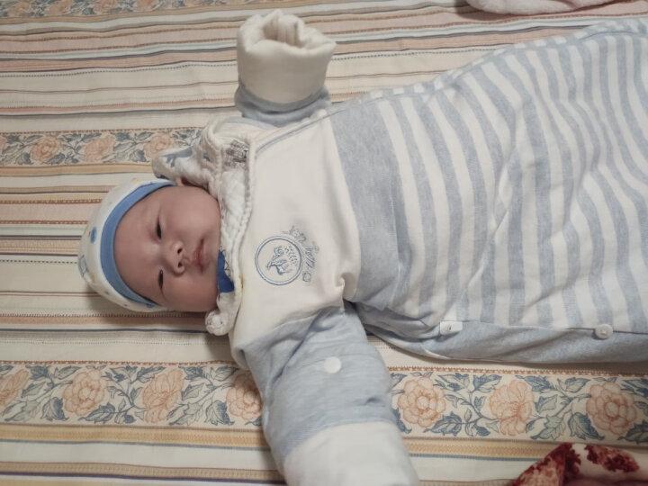 欧孕(OUYUN)婴儿睡袋春秋棉抱被一体睡袋宝宝防踢被儿童棉舒绒面料 浅蓝棉花填充(130克中厚) S码(适合身高55-75cm 晒单图