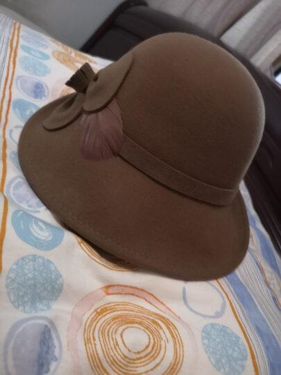 布塔帽子女羊毛礼帽优雅秋冬保暖小卷边盆帽时尚晚宴花朵呢帽 黑色 均码   可调节 晒单图