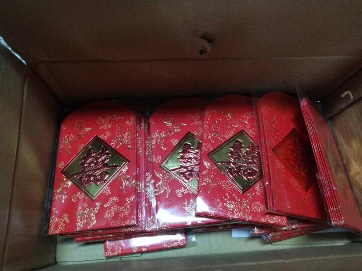 幽幽兔加厚红包结婚庆用品烫金硬质利是封大红包随礼份子钱 富贵花开款 长方形百元款(30个) 晒单图