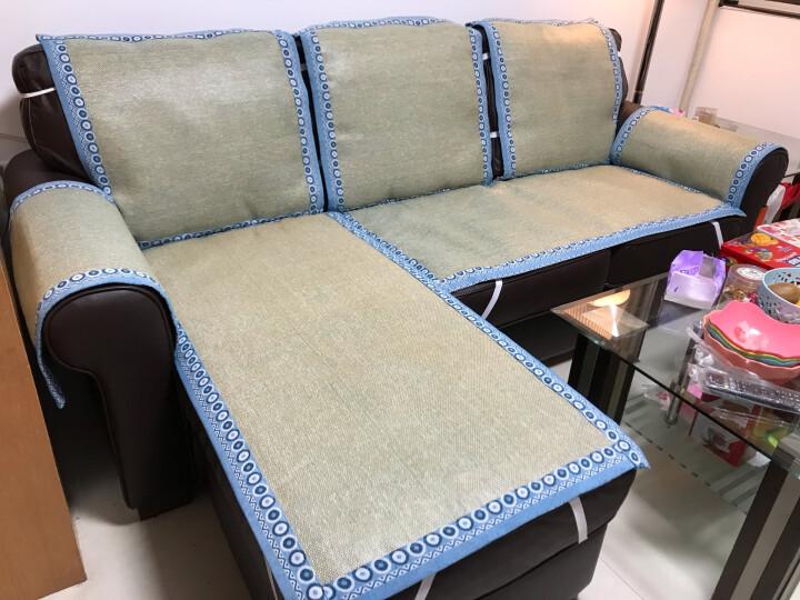 【3件7折】夏凉沙发垫套装夏季沙发凉席坐垫子厚沙发套罩巾全包防滑组合藤席坐垫 梦中国 墨绿 60*60cm 晒单图