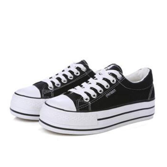 人本帆布鞋女鞋学生厚底松糕跟低帮小白鞋牛仔休闲鞋 浅兰 37 晒单图