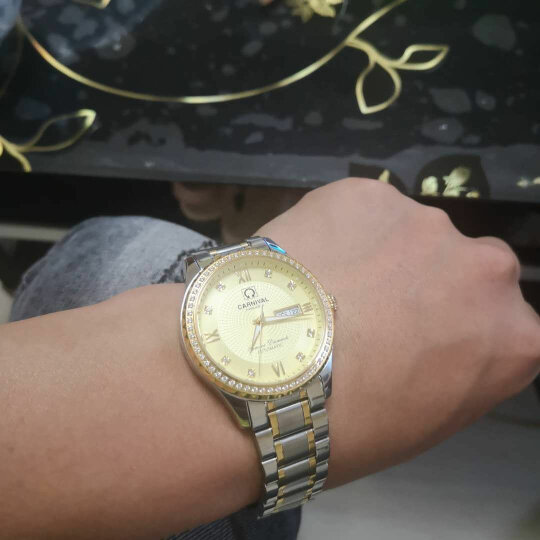 嘉年华(Carnival)手表男士机械表时尚商务夜光防水双日历男表 8629 间白金面钢带 晒单图