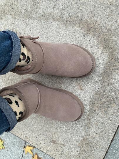 公猴雪地靴女真皮加绒短筒裸靴韩版平底保暖棉鞋女 1854-沙色 36 晒单图