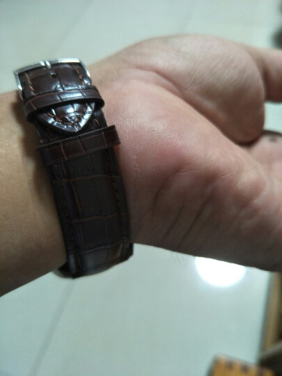 iStrap真皮表带 男女手表带代用天梭天王卡西欧浪琴美度DW罗西尼精工西铁城艾戈勒配件 黑色黑线(玫金双按蝴蝶扣) 20mm 晒单图