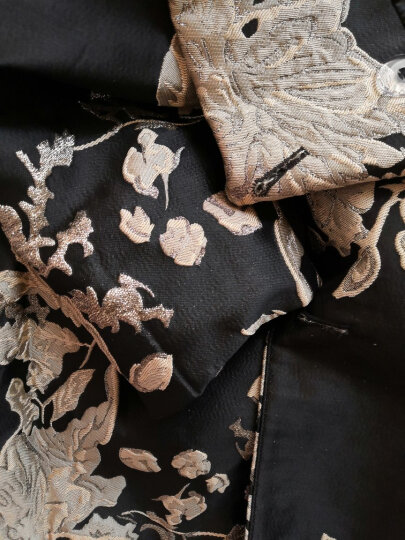 帝弗润驰 秋冬新品修身长款风衣外套女 欧美气质收腰长袖过膝大衣 黑色提花 2XL 晒单图