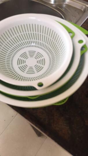 生活谷 【6件套沥水篮】双层塑料沥水篮漏筛厨房洗菜篮子水果盘沥水盆洗菜盆淘米器 高品质不锈钢三件套 晒单图