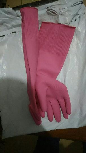 妙洁清洁家务橡胶手套 加长增厚防水防滑皮厨房洗碗 耐用光里型中号 晒单图