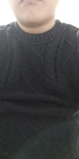 苏铭 秋冬季保暖加绒防寒毛衣男 长袖卫衣男士棉衣 修身加厚经典针织衫韩版圆领打底衫上衣 百搭新款 黑色加绒 L 晒单图