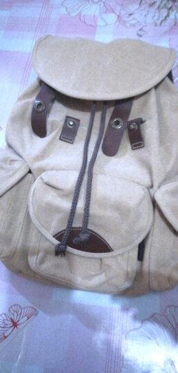 豆鼓眼(DouGuYan)韩版双肩包女休闲帆布学院风背包女旅行书包G00113 125浅棕色升级版 晒单图