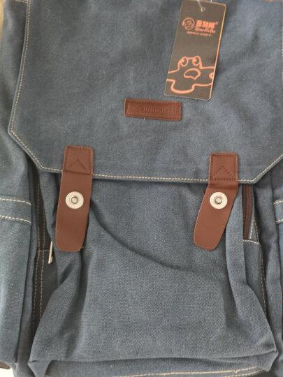 豆鼓眼 帆布双肩包男女休闲韩版14英寸电脑包旅行包情侣包G00120 复古蓝 晒单图