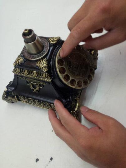 古琛 欧式复古电话机家用仿古电话机座机古典复古固定电话客厅座机摆件 复古转盘-电子单铃(古铜色) 晒单图