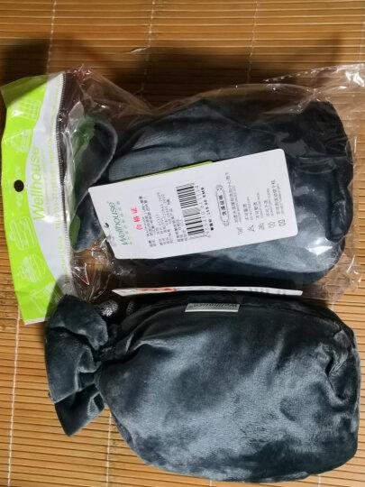 WELLHOUSE 棉绒充气U型枕护颈枕旅行4件套装眼罩耳塞收纳袋便携旅游睡眠飞机靠枕 蓝绿色 晒单图