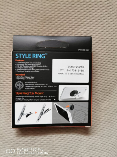 SPIGEN Ring防丢防摔电影支架指环扣 便捷粘贴通用苹果iPhone8 X三星华为 枪灰色 晒单图
