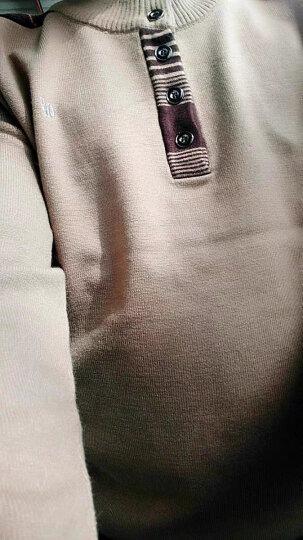 袋鼠 羊绒衫男士圆领毛衣纯色保暖商务绅士休闲中年男装宽松保暖毛衣针织衫男 8802卡其色 M 晒单图